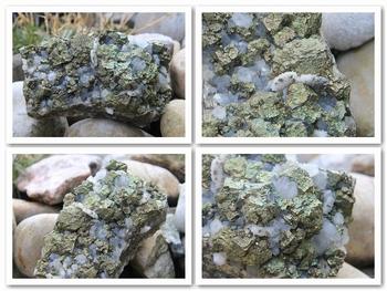 Chalcopyrite and small milky Quartz crystals