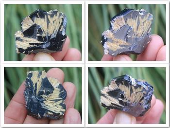 Golden rutile crystals on black hematite