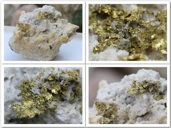 Native gold on quartz and calcite