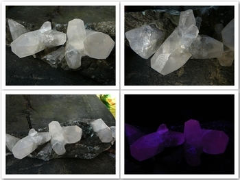 Calcite clusters on a thin quartz layer