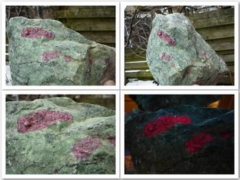 Red (fluorescent) ruby (corundum) embedded in anyolite.