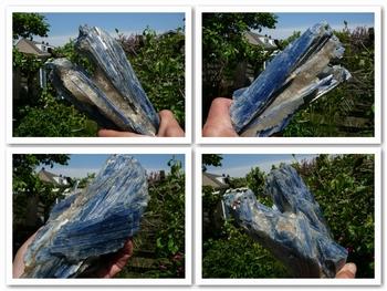 Blue kyanite crystals in a matrix of semi-transparent quartz