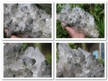 Clear quartz crystals with dark green Chlorite