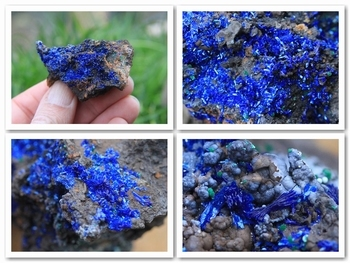 Deep blue azurite crystals