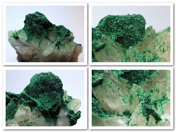 Deep green fine crystallized needles of malachite