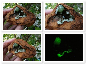 Green cupro adamite on a rust-red Limonite matrix
