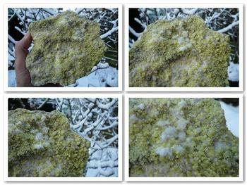 Sulfur crystals on matrix
