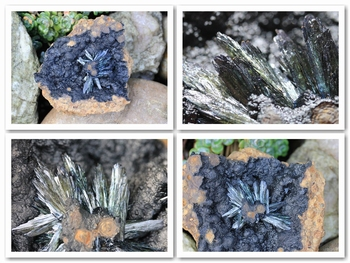 Deep green, half black translucent vivianite blades