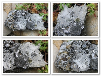 Combo of minerals: chalcopyrite, sphalerite, pyrite, quartz