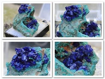 Electric-blue, crystals of azurite on a malachite matrix