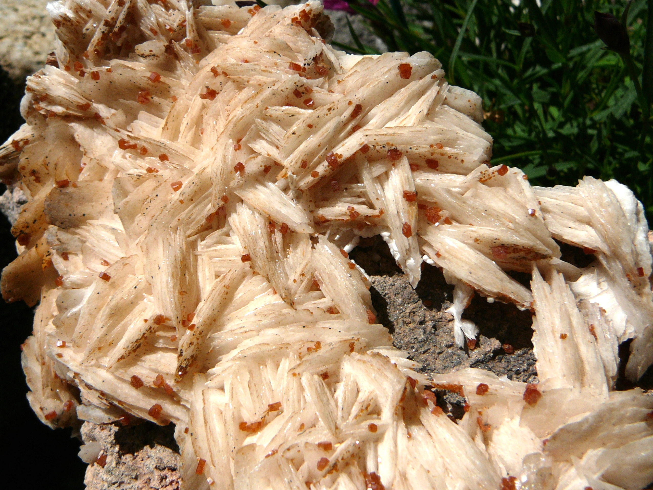 Barite with vanadinite crystals