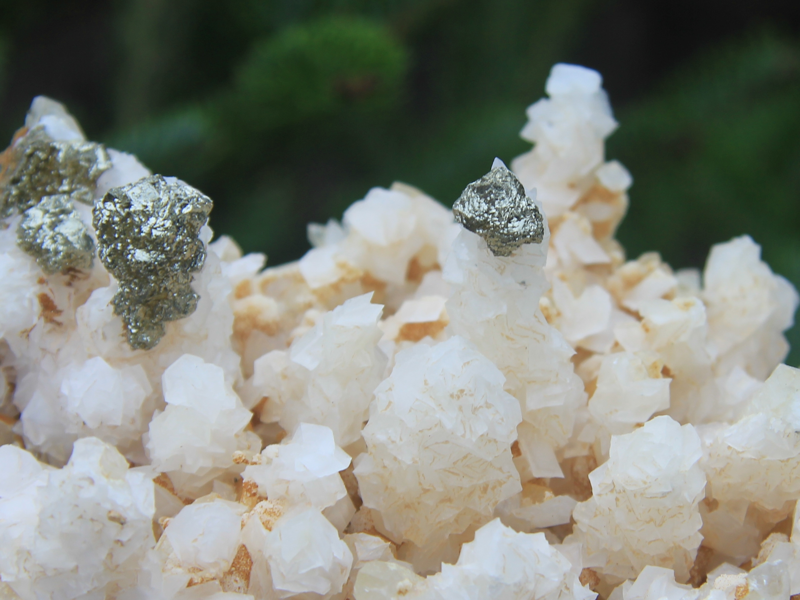 Calcite with pyrite on top