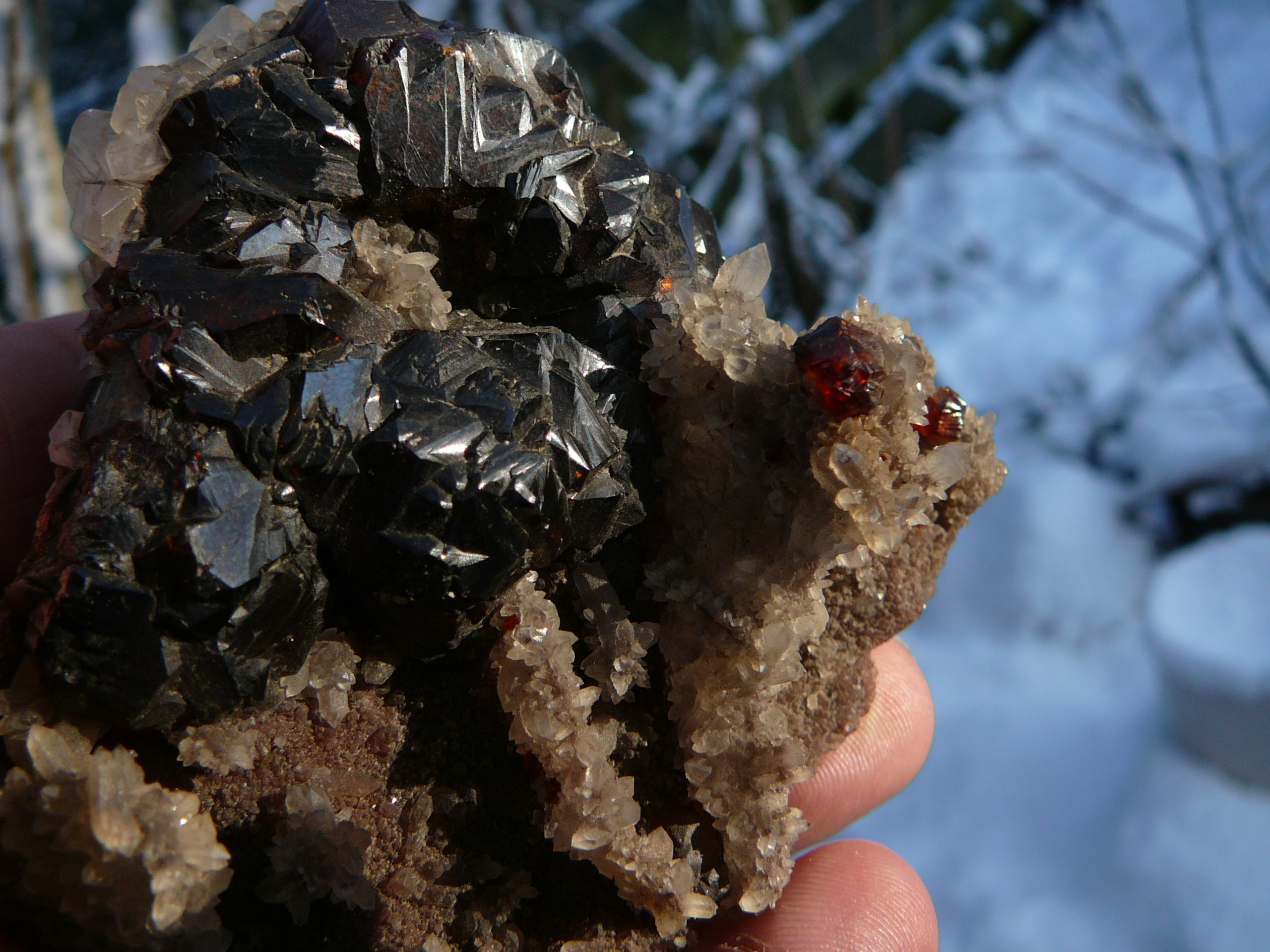 Honey to chocolate brown sphalerite crystals