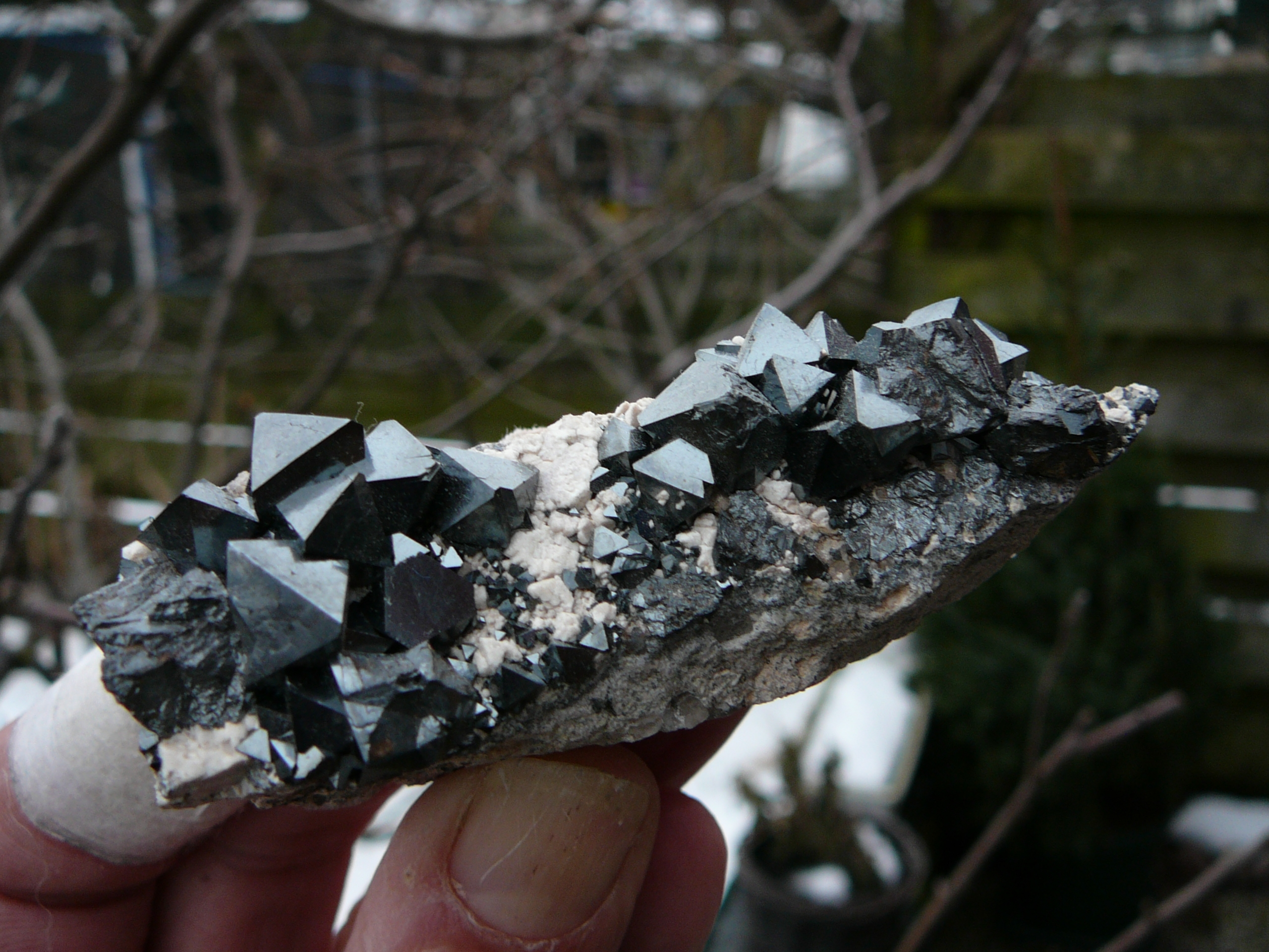 Magnetite on a rhyolite matrix