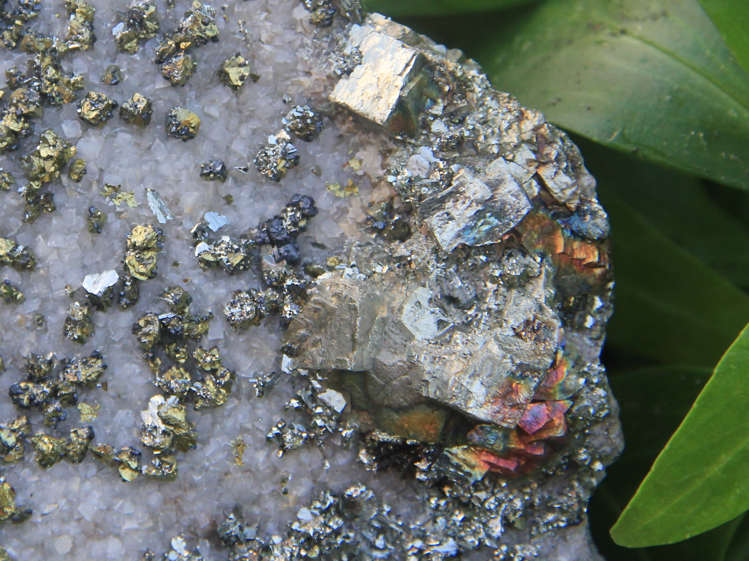 Marcasite, pyrite, and chalcopyrite crystals