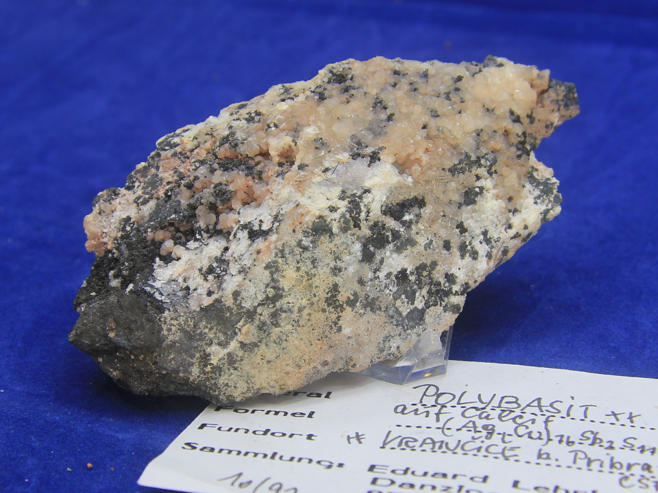 Polybasite on a calcite matrix