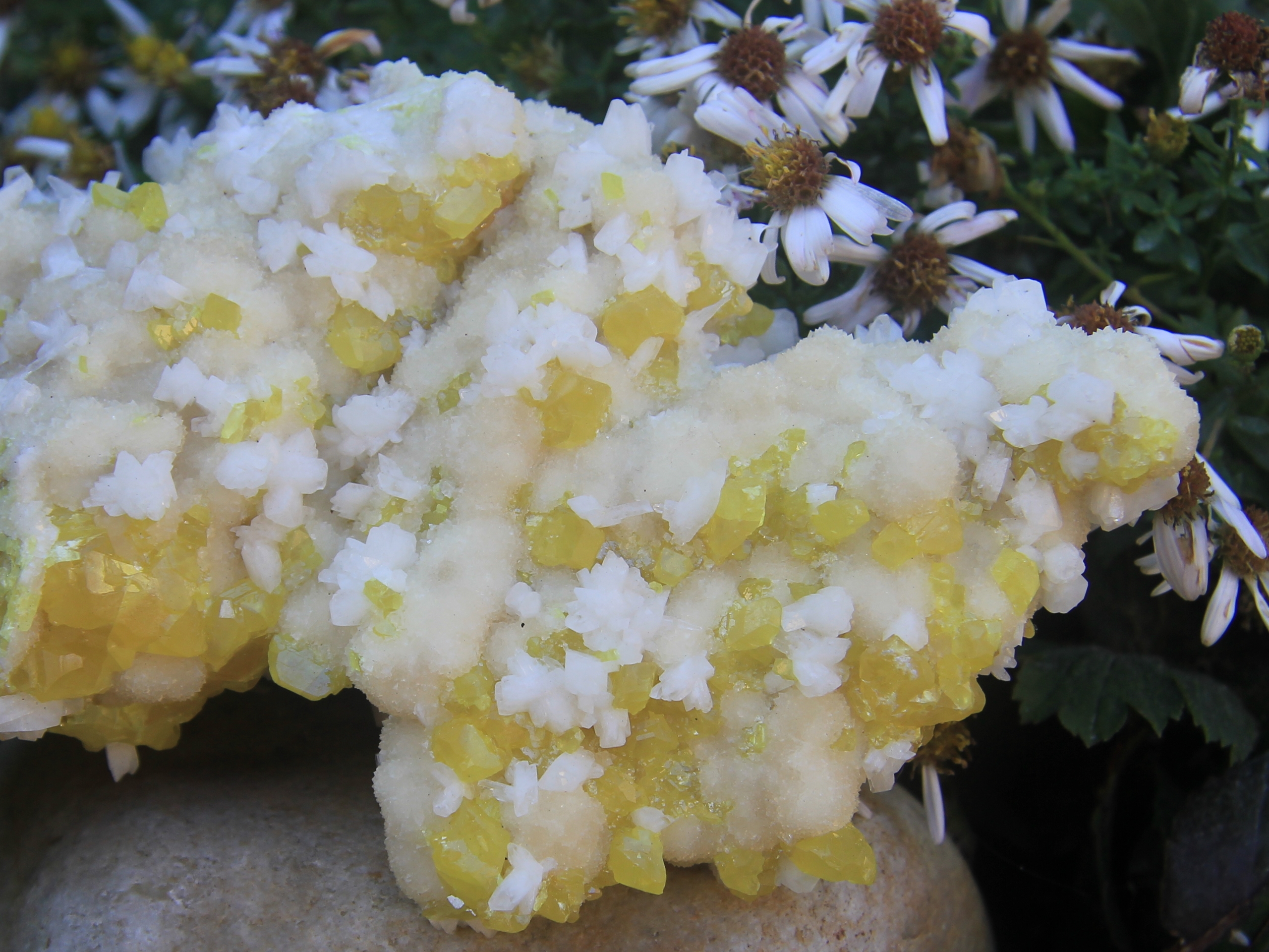 Sulphur crystals and calcite
